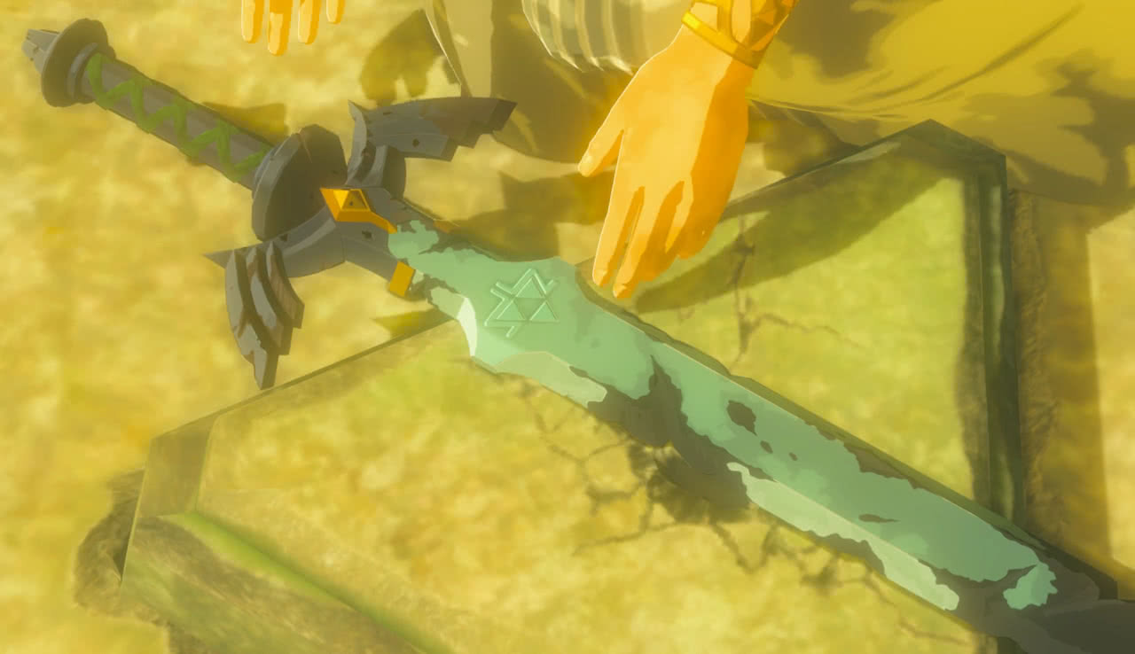 A chipped and rusted Master Sword