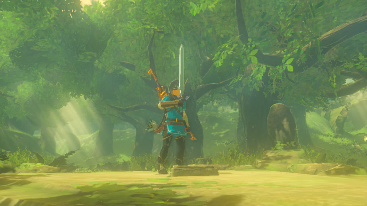 Link holding the Master Sword aloft triumphantly.