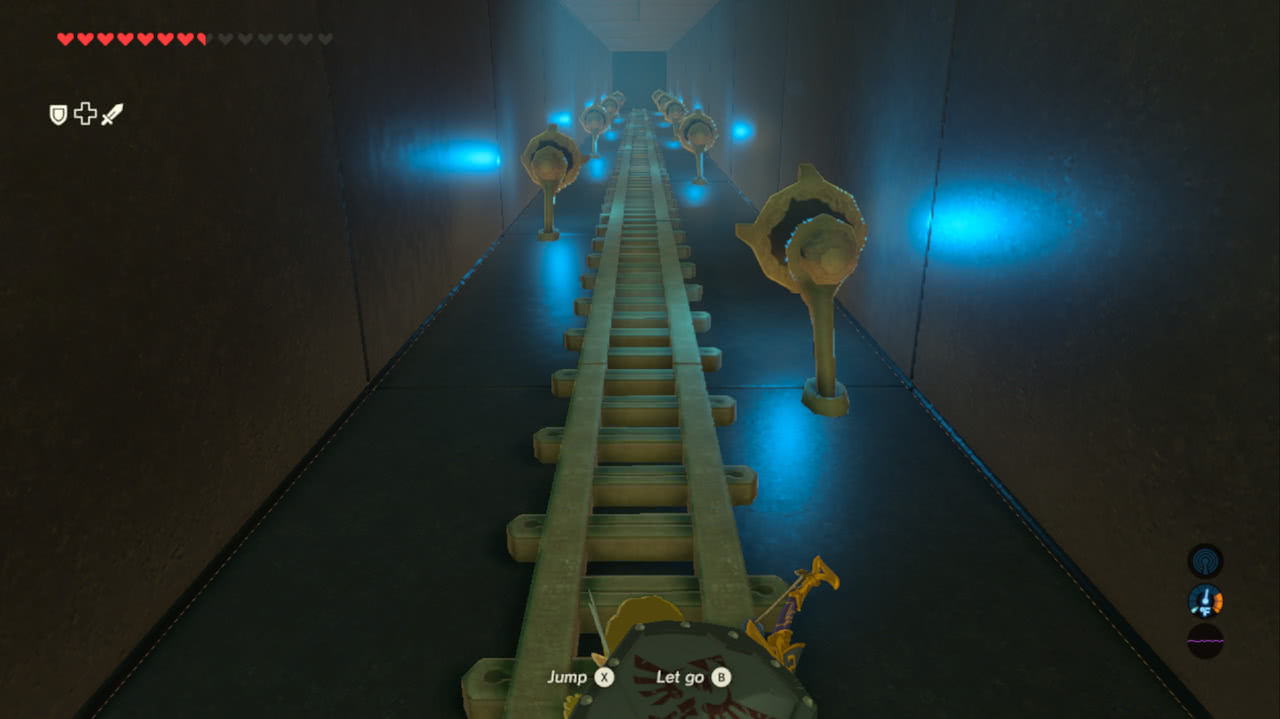 The player climbing a long ladder in an otherwise featureless shaft