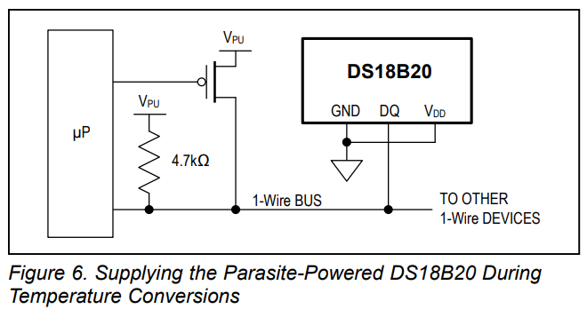 A secondary GPIO from a microprocessor provides a strong pull-up on the 1-Wire bus while power requirements exceed parasitic supply capabilities.