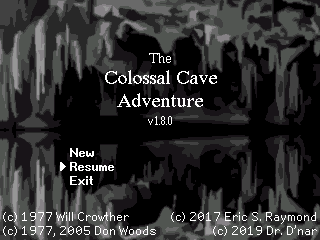 A port of Colossal Cave Adventure, a very early text adventure
