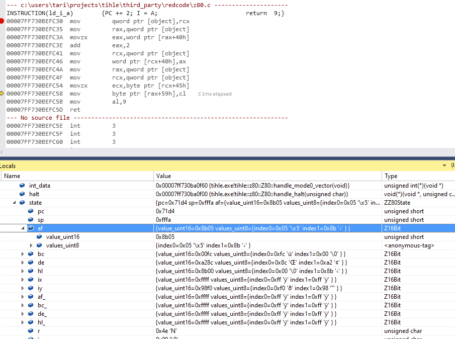 A two pane debugger configuration again, this time with the value 0x8b05 in af.