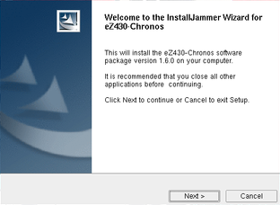 A Windows-style installer, 'InstallJammer Wizard'. On Linux.